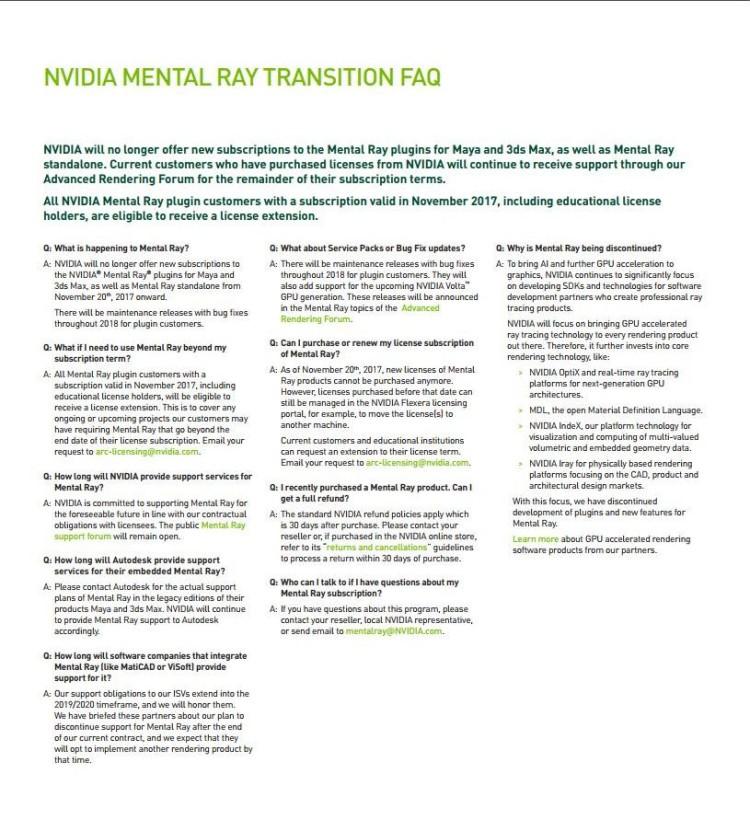 NVIDIA Mental Ray discontinued - ArchitecTools - 3D Architettura