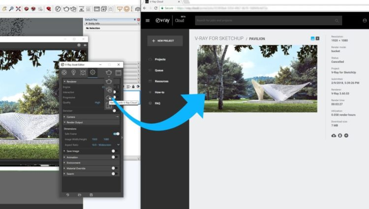 V-Ray cloud SketchUp Split Screen